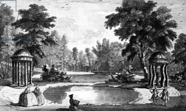 A View of the Grotto and two shell temples, Stowe House Gardens, engraved by George Bickham, 1753 (engraving)