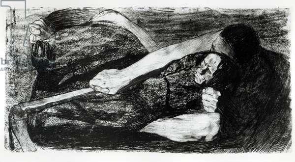 Inspiration, 1905 (etching) (b/w photo)