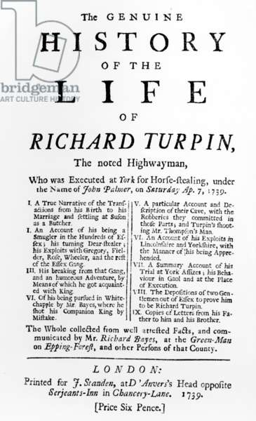 Title Page for 'The Genuine History of the Life of Richard Turpin, The noted Highwayman', by Richard Bayes, published 1739 (letterpress)