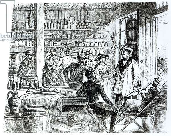 The Meeting of Mary Seacole (1805-81) and Alexis Soyer (1810-57) in her hotel bar, c.1855 (engraving) (b/w photo)