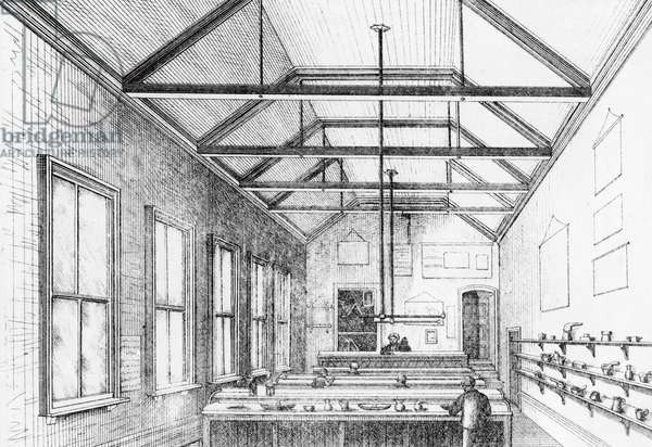Chemical laboratory, Dulwich College, c.1870 (lithograph)