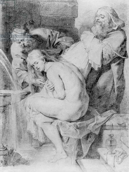 Susanna and the Elders, drawn by Lucas Vorsterman, c.1620 (chalk, pen & ink on paper)