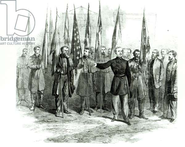 General Custer presenting captured Confederate flags in Washington on October 23rd 1864 (engraving)