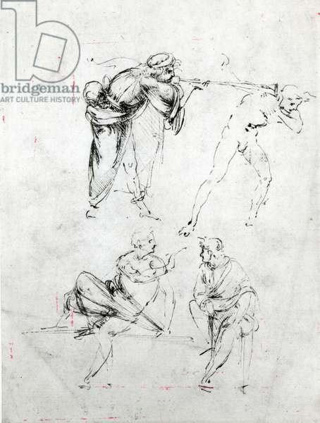 Study of a man blowing a trumpet in another's ear, and two figures in conversation, c.1480-82 (pen and ink on paper)
