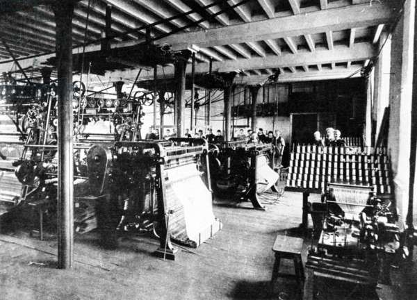 Lace Making Factory, late 19th (b/w photo)