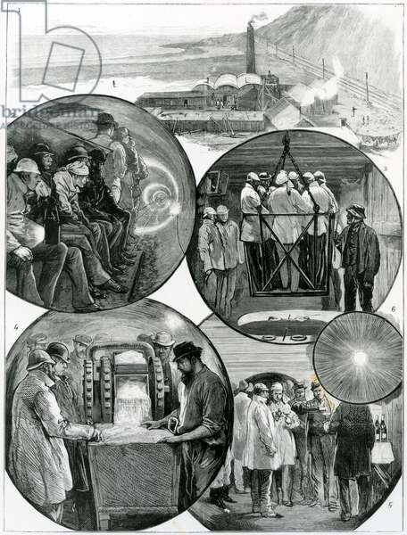 A visit to the Channel Tunnel, illustration from 'The Graphic' 4th March, 1882  (engraving)