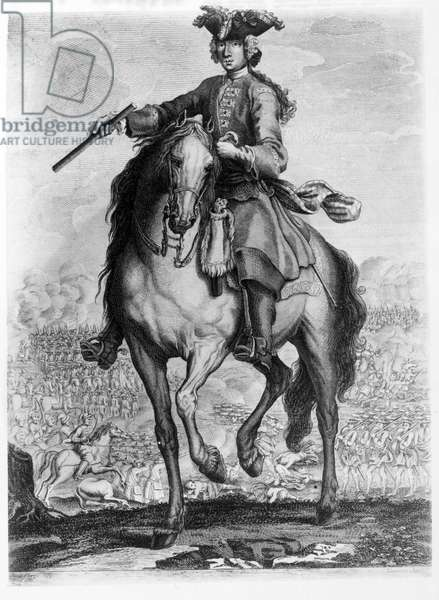 Prince Charles Edward Stuart at the Battle of Prestonpans, c.1745 (engraving)