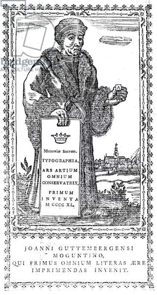 Frontispiece of Johannes Gutenberg from 'A Concise History of the Origin and Progress of Printing' by Philip Luckombe, published 1770 (engraving)