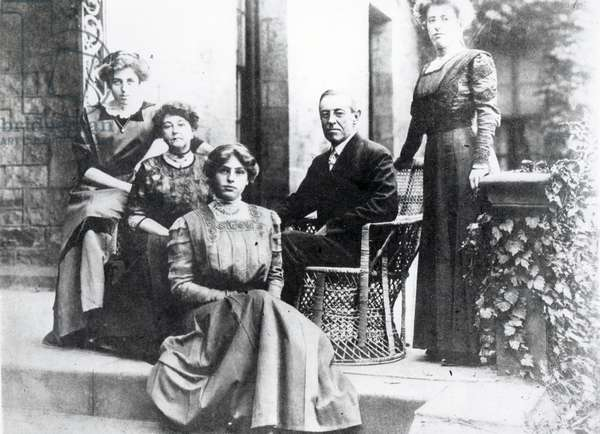 The New President of the United States, Dr. Woodrow Wilson (1856-1924) and his Family, 1916 (b&w photo)