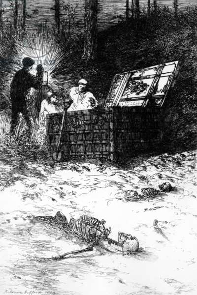 The Gold Bug, illustration to the story by Edgar Allan Poe, 1884 (etching)