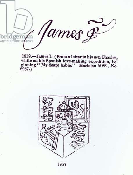 Reproduction of the signature of James VI and I (1566-1625), March 17th 1623 (pen & ink on paper) (b/w photo)