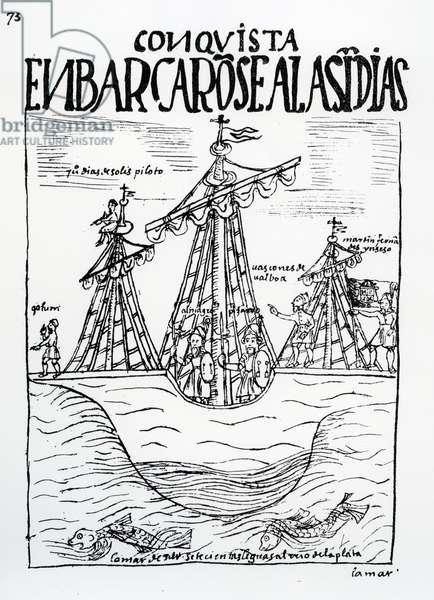 The voyage to the New World taken by Christopher Columbus, Juan Diaz de Solis, Diego de Almagro, Francisco Pizarro, Vasco Nunez de Balboa and Martin Fernandez de Enciso (woodcut)