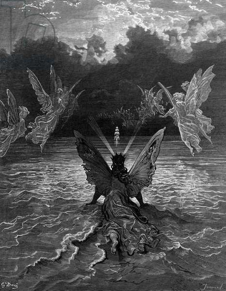 The ship continues to sail miraculously, moved by a troupe of angelic spirits, scene from 'The Rime of the Ancient Mariner' by S.T. Coleridge, published by Harper & Brothers, New York, 1876 (wood engraving)