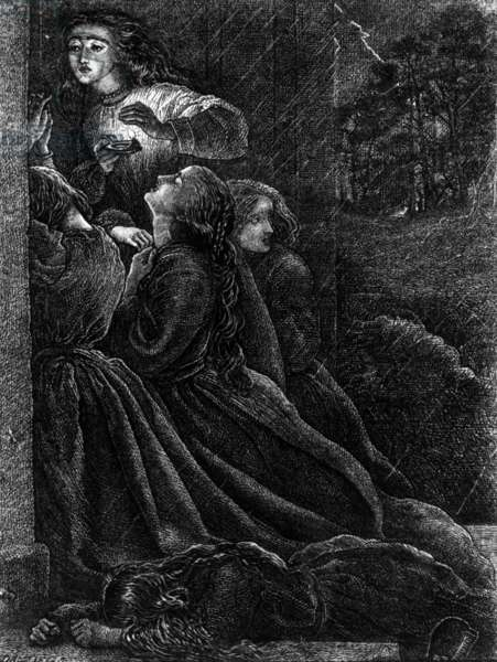 The Five Foolish Virgins, illustration from 'The Parables of Our Lord and Saviour Jesus Christ', 1864 (engraving)