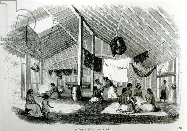 Inside a Tahitan Hut, from 'Voyages dans Les Deux Oceans', by Eugene Delessert, 1848 (litho) (b/w photo)