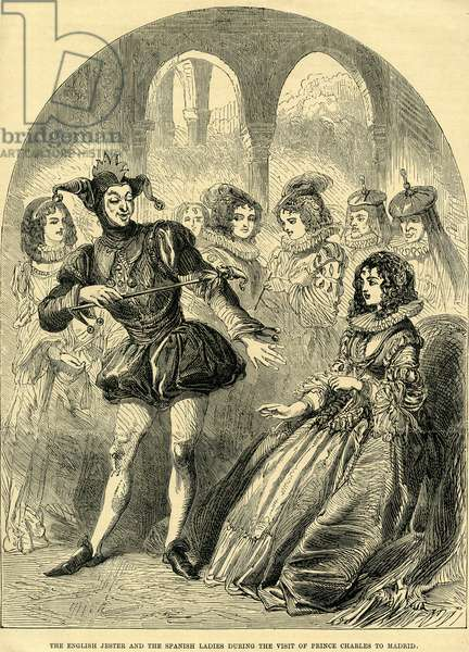 The English Jester and the Spanish Ladies during the visit Prince Charles to Madrid (engraving)