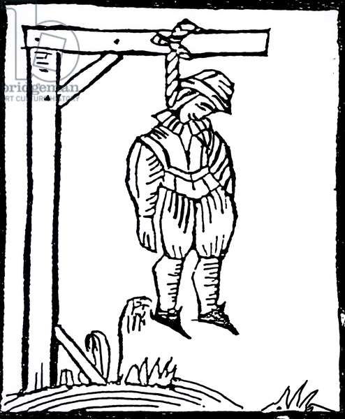 Hanged Man (woodcut) (b/w photo)