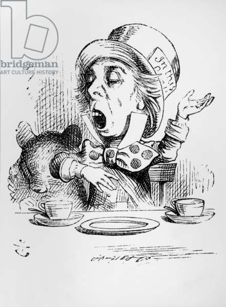 The Mad Hatter, illustration from 'Alice's Adventures in Wonderland', by Lewis Carroll, 1865 (engraving) (b&w photo)