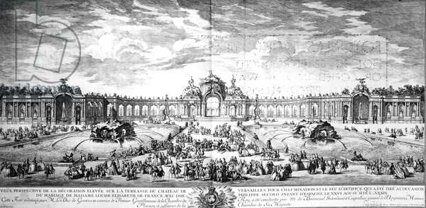 Perspective view of the terrace at Versailles on the occasion of the marriage of Louise Elisabeth of France with Philip of Spain in 1739, engraved by Charles Nicolas Cochin fils, 1741 (engraving)