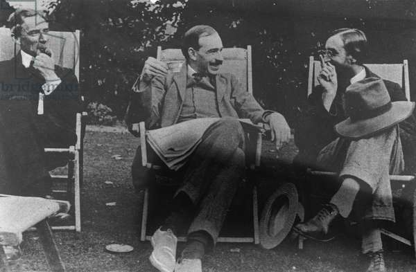Bertrand Russell, J. M. Keynes and Lytton Strachey, c.1917 (b/w photo)