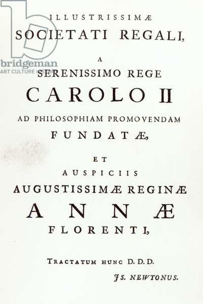 Dedication to the Royal Society of the Second Edition of Newton's 'Philosophiae Naturalis Principia Mathematica. 1713 (engraving)