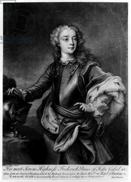 Portrait of Frederick II (1720-1785), Landgrave of Hesse-Cassel, engraved by John Simon (1675-1715) (engraving)