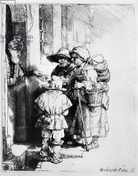 Beggars receiving alms, 1648 (etching)