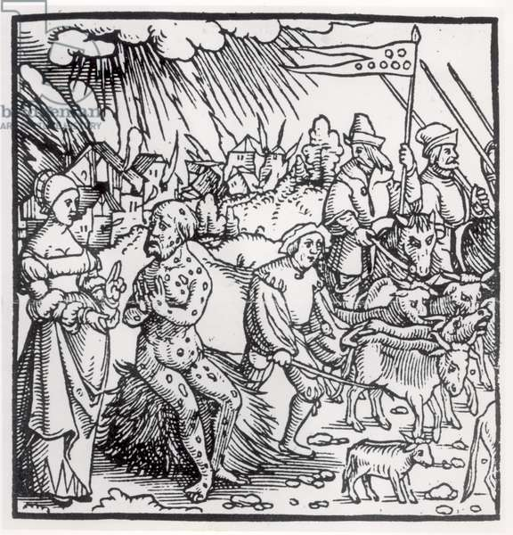 The Black Death, 1348 (engraving) (b&w photo)