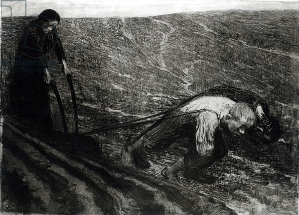 Plough-puller and Woman, 1902 (litho) (b/w photo)