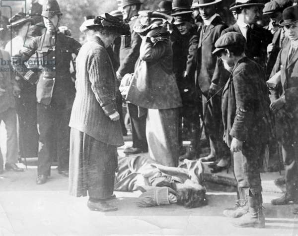 Scene at a Suffragette Demonstration (b/w photo)