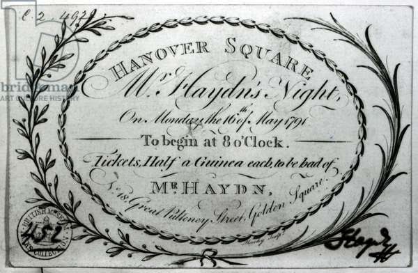 Ticket to 'Mr. Haydn's Night' in Hanover Square, 16th May 1791 (engraving) (b/w photo)