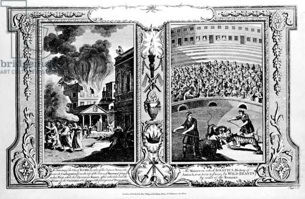 The Burning of the City of Rome and the Bishop of Antioch being killed by lions, from 'The New and Complete Book of Martyrs', by Paul Wright (engraving) (b/w photo)