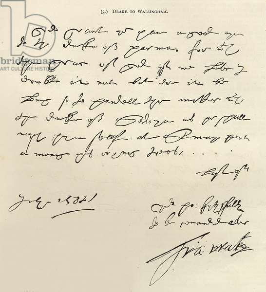 Letter from Sir Francis Drake to Sir Francis Walsingham signed 29th July 1588, published in 'Leisure Hour', 1888 (ink on paper)
