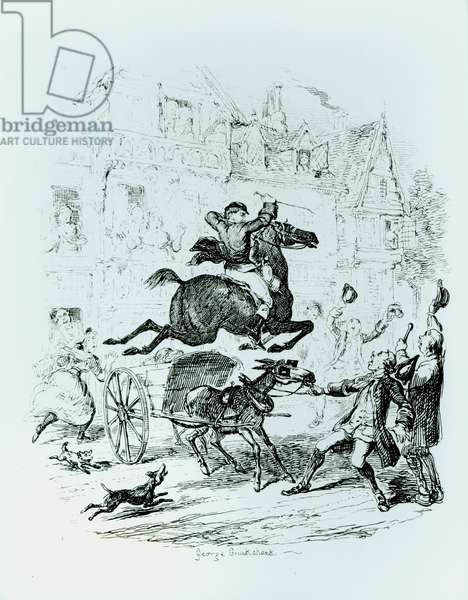 Turpin's (1705-39) Flight Through Edmonton (engraving) (b/w photo)