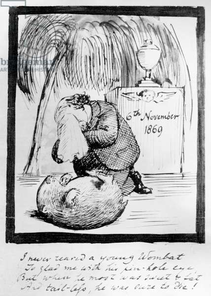 Rossetti lamenting the death of his Wombat, 1869 (pen & ink on paper)