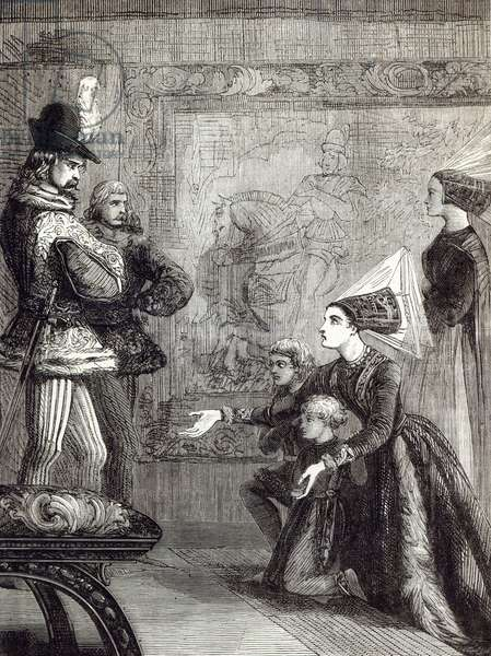 First Meeting of Edward IV and Lady Elizabeth Gray, illustration from 'Cassell's Illustrated History of England' (engraving)