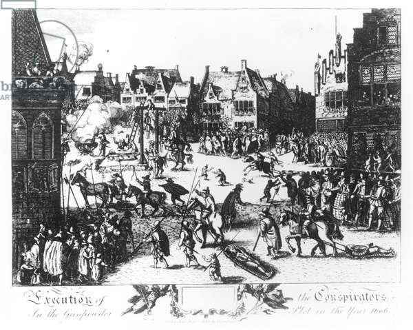 The Execution of the Conspirators in the Gunpowder Plot in the Year 1606 (engraving) (b&w photo)