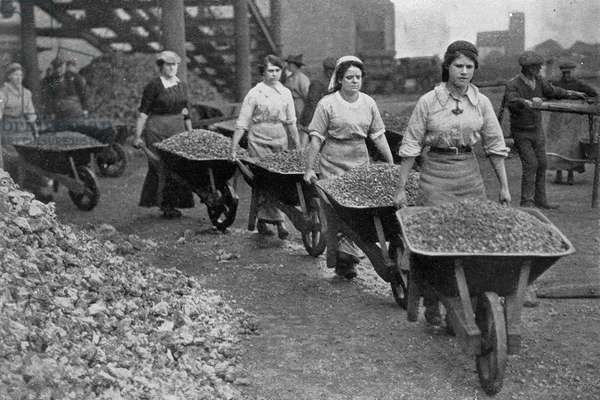 Women Barrowing Coke at a Gas Works, War Office photographs, 1916 (b/w photo)