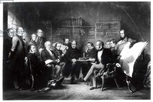 The Aberdeen Cabinet, deciding upon the expedition to the Crimea, engraved by William Walker, 1857 (engraving)