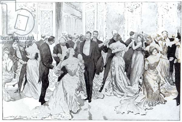 The Cotillon, from 'Daily Life Upstairs', 1902 (lithograph) (b/w photo)