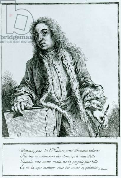 Portrait of Jean-Antoine Watteau (1684-1721) (engraving)