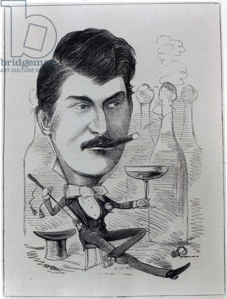 George Leybourne, The Original 'Champagne Charlie', illustration from 'The Entr'acte', August 24th 1872 (engraving)