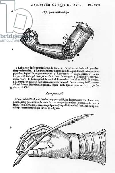 Description of a mechanical iron arm and hand (engraving) (b/w photo)