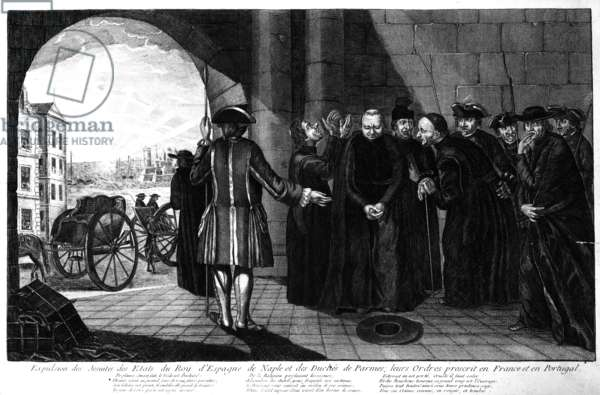 The Expulsion of the Jesuits from the Kingdoms of Spain and Naples and the Duchy of Parma; their Orders banned in France and Portugal, c.1770s (engraving)
