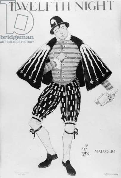 Costume design for Malvolio in Twelfth Night, c.1912 (litho)