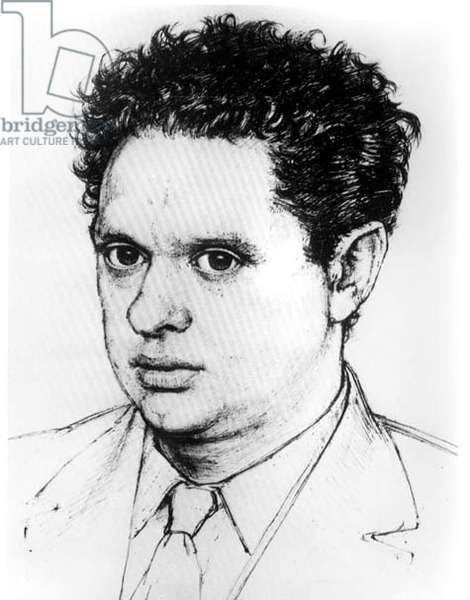 Dylan Thomas, 1964 (pen & ink on paper) (b&w photo)