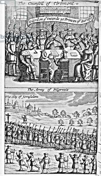 Frontispiece from 'The History of the Holy War: Began Anno 1095, by the Christian Princes of Europe against the Turks, for the recovery of the Holy Land, and continued to the year 1294' by Thomas Mills, pub. London, 1685 (engraving)