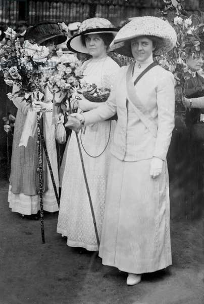 Lena Ashwell in the Actresses' Franchise League section of the Women's Coronation Procession, 1911 (b/w photo)