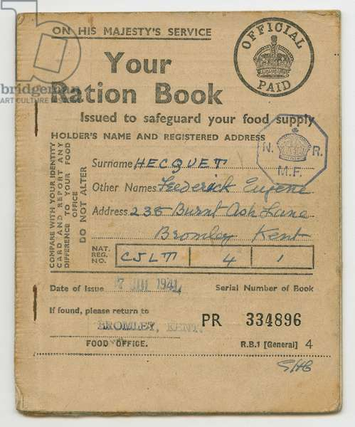 Ration Book for Frederick Hecquet, Bromley, Kent, 1941 (print)