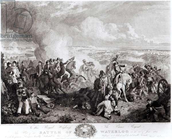 The Battle of Waterloo, 18th June 1815, engraved by John Burnet (1784-1868), 1819 (engraving) (b&w photo)